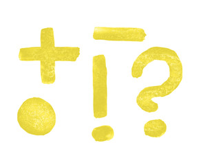 Question and exclamation marks, dot, minus, plus painted with a brush and yellow paints by hand
