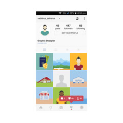My life, work and hobbies. Mobile applications for sharing photos. Social life in the network. Notification icons on the mobile app. Flat vector illustration EPS 10.