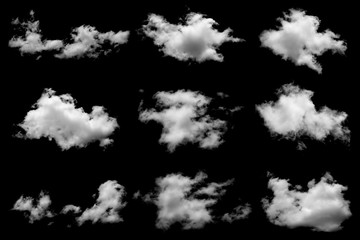 Canvas Prints Heaven Set of isolated clouds on black