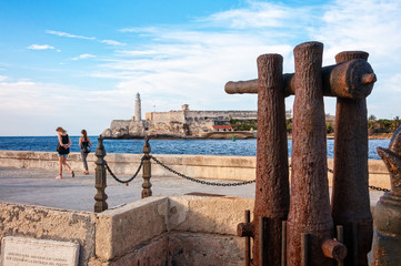 Famous lighthouse seen from Malecon, Old Havana, Cuba.