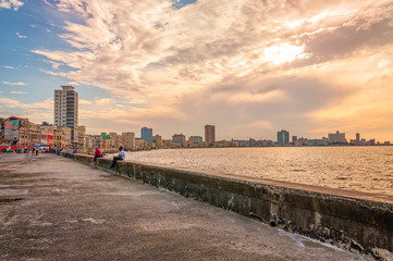Sunset at Malecon, Old Havana, Cuba.