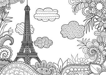 Spring In Paris For Adult Coloring Book Page And Other Design Element