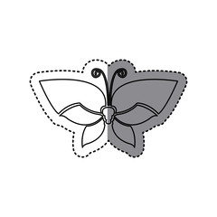 sticker shading silhouette simple butterfly insect icon vector illustration