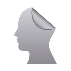 silhouette silver head human with fold vector illustration