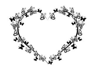 frame heart with butterflies