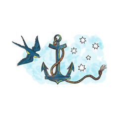 Anchor Swallow Southern Star Tattoo