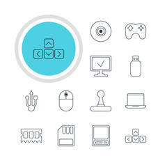 Vector Illustration Of 12 Laptop Icons. Editable Pack Of Keypad, Memory Chip, Objective And Other Elements.