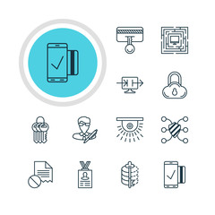 Vector Illustration Of 12 Web Safety Icons. Editable Pack Of Data Error, Send Information, Key Collection And Other Elements.
