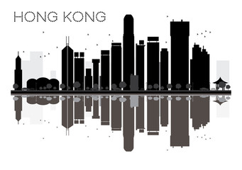 Hong Kong City skyline black and white silhouette with Reflections.