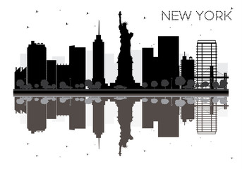 New York City skyline black and white silhouette with Reflections.