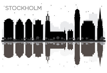 Stockholm City skyline black and white silhouette with Reflections.