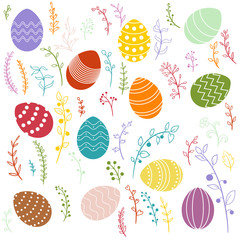 vector easter eggs and floral elements