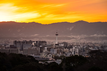 Kyoto City at golden hour with Kyoto Tower in the middle of a frame, Kyoto, Japan