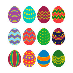 colored silhouettes of vector easter eggs