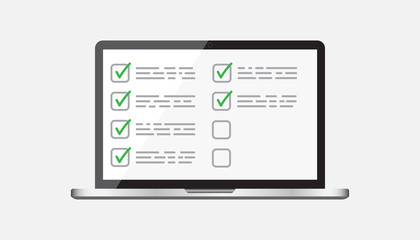 Businessman checklist with notebook. Check list icon flat vector illustration.