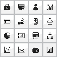 Set Of 16 Editable Analytics Icons. Includes Symbols Such As Transmission, Circle Diagram, Statistic And More. Can Be Used For Web, Mobile, UI And Infographic Design.