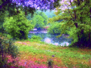 Digital painting illustration art. Small lake in the forest.