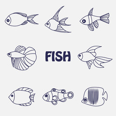 Stylized aquarium ornamental river and sea fish