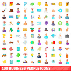 100 business people icons set, cartoon style