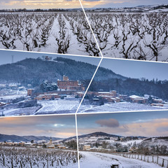 Beaujolais under snow rectangular travel photo collage
