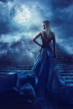 Woman Climb Up Stairs to Fantasy Moon Heaven, Fairy Girl in Night Blue Dress, Model Back View Looking over Shoulder