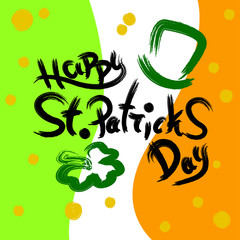 Vector illustration of Saint Patrick's Day logotype. St.Patricks Day celebration background. Lettering typography. Hand sketched St.Patricks Day icon. Beer festival decoration poster.