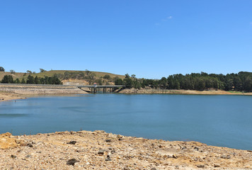 MYRNIONG, VICTORIA, AUSTRALIA - November 15, 2015: Pykes Creek reservoir (1908-1911) is located on a tributary of the Werribee River
