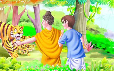 Buddha saving a boy from tiger