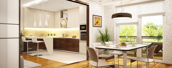 Modern kitchen in a big house
