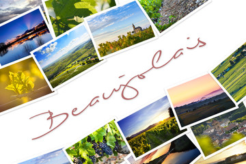 Heap of Beaujolais travel photos with a white background