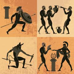 Ancient Greek mythology set. Ancient Greece scene. Black figure pottery