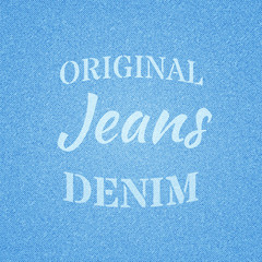 Font composition on the theme of jeans. Vector illustration.