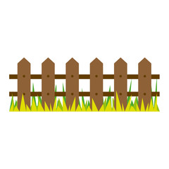 picture wooden fence and grass design vector illustration