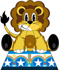 Cute cartoon Circus Lion on Podium