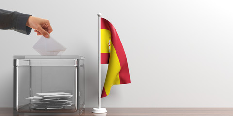 Ballot box and a small Spain flag. 3d illustration