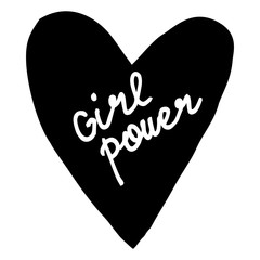 Hand written lettering Girl Power. Hand drawn card, poster, postcard, t-shirt apparel design.