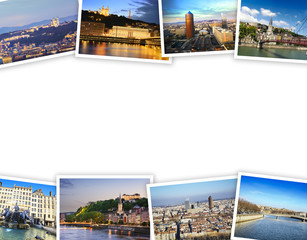 Heap of Lyon travel photos with a white background