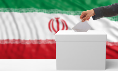 Voter on an Iran flag background. 3d illustration