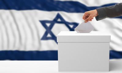 Voter on an Israel flag background. 3d illustration
