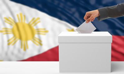 Voter on a Philippines flag background. 3d illustration