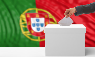 Voter on a Portugal flag background. 3d illustration