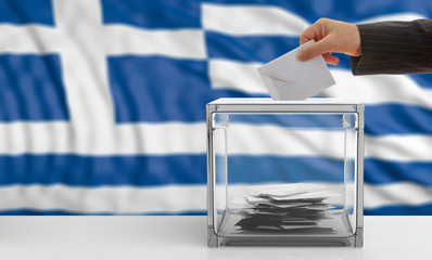 Voter on a Greece flag background. 3d illustration