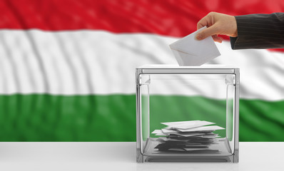 Voter on a Hungary flag background. 3d illustration
