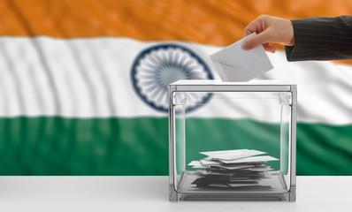 Voter on an India flag background. 3d illustration