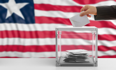 Voter on a Liberia flag background. 3d illustration