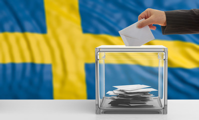 Voter on a Sweden flag background. 3d illustration
