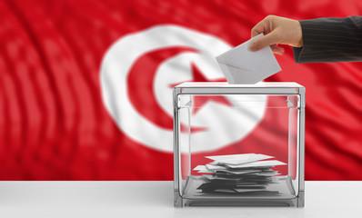 Voter on a Tunisia flag background. 3d illustration