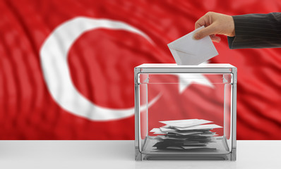Elections in Turkey. Voter on a Turkey flag background. 3d illustration