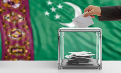 Election in Turkmenistan. Voter on a Turkmenistan flag background. 3d illustration