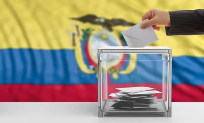 Ecuador elections. Voter on an Ecuador flag background. 3d illustration